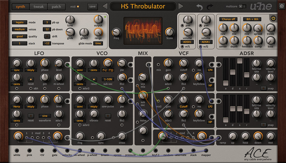 U-he ace easy modular synthesizer plug-in (download).