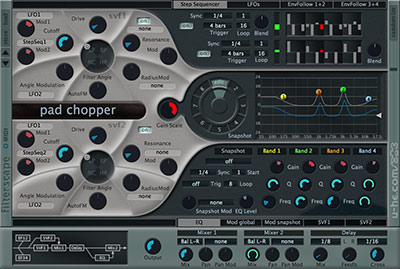 Filterscape interface with EQ and step sequencer module