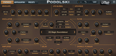 Podolski's main synth interface