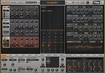 Zebra2's synth interface